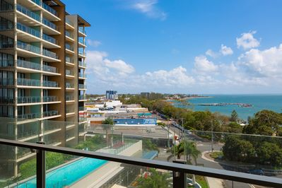 Views from our balcony towards Redcliffe City, guests have use of outdoor pool