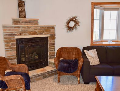 Relax next to our beautiful fireplace