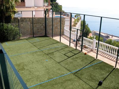 AstroTurf play court with sports equipment  for football, basketball & lots more