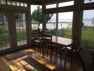 Morning room pics of the private sandy beach and access to a large patio