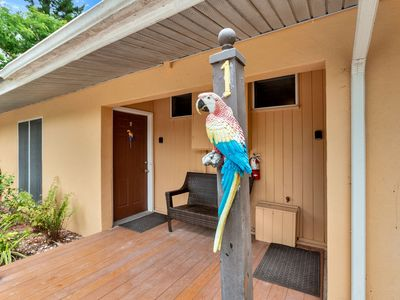 Photo for Parrot Nest The Rosella Cottage.  King room with a twin sleeps 3!  Incredible value on Sanibel island.  Walking distance to restaurants and shops and the lighthouse on the HIstoric east end!