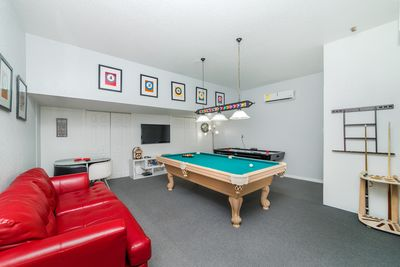 Great game room with pool table and air hockey