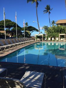 A view of the pool looking toward the beach.
