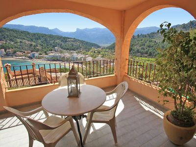 Photo for Superb sea views! Great beach apartment for families in Port de Soller