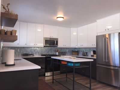 huge kitchen with gas oven/range, microwave, dishwasher, everything you need!