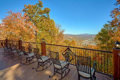 Huge back deck with amazing view of downtown Gatlinburg and the Smoky Mtns!