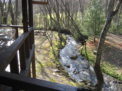 Meadow Creek just below the porch. Nice and Noisy. Noisy!!