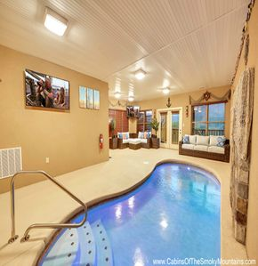 Photo for 3 BR Luxury Cabin in Gatlinburg Falls, Indoor Pool, Views of Mt. Leconte, HotTub