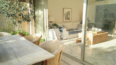 Photo for Charming, spacious corner apartment in Cap d'Antibes. Near sea.  Great location.