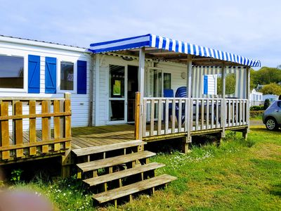Photo for Mobilhome Perros-Guirec, camping Louannec with heated pool *, sea view
