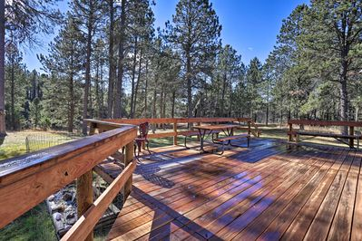 An expansive deck is perfect for downtime enjoying the great outdoors.