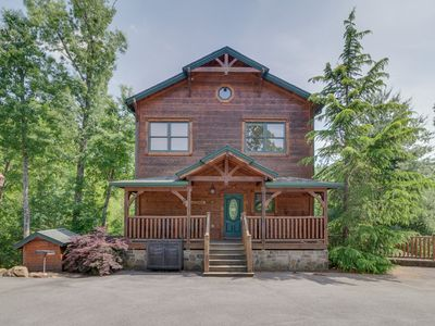 Photo for Charming cabin w/ a private hot tub, gazebo, game room, & home theater