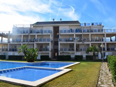 Photo for Beautiful and cheerful apartment in Oliva, on the Costa Blanca, Spain  with communal pool for 8 persons