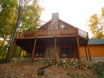 Photo for 'Nature Calls'  Beautiful Full Log Home in Hawks Eye - Minutes to Shanty Creek