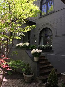 Three level semi detached Victorian on tree lined street. Built in 1895