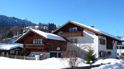 Photo for Comfortably furnished with wooden furniture and tiled apartment with mountain views.