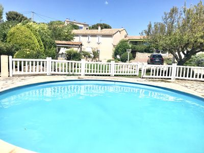 Photo for Air-conditioned villa at the seaside, sleeps 9, Petanque ground, Private pool