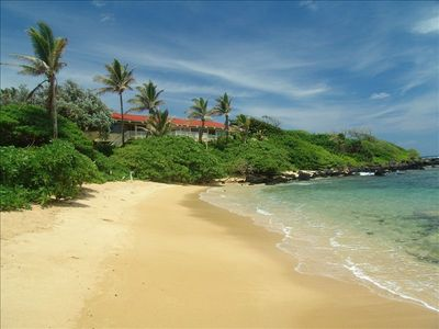 The beautiful, secluded beach in front of Secret Cove Villa.