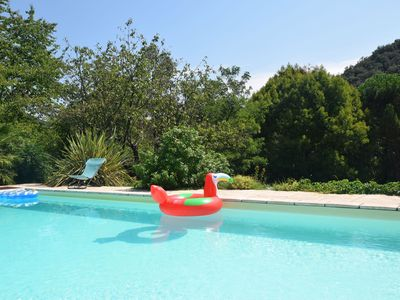 Photo for Lovely house with grass garden, shared swimmingpool, next to the river Ardèche
