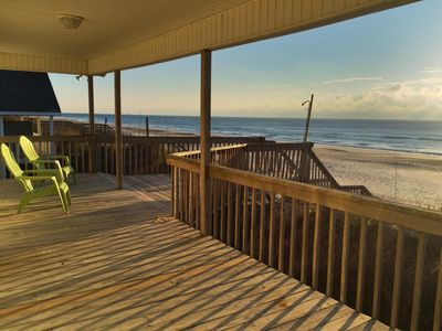 Photo for 100ft Ocean Front, Covered porch with new stairs to the beach,