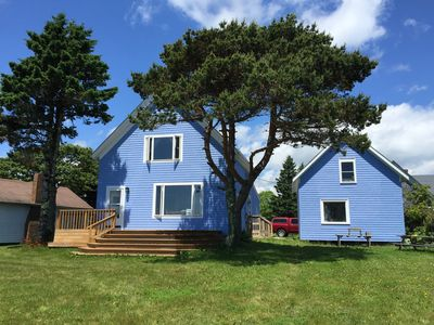 McCollum House and barn. Perfect deck for watching the lobster boats.