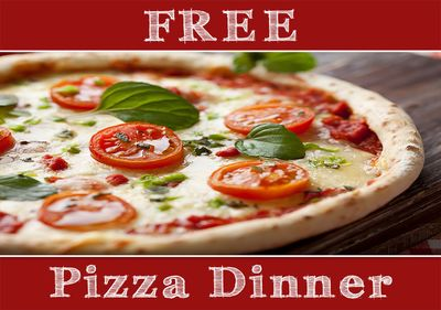 1 free pizza dinner for 2 with every booking