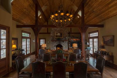 Dining Area and Fireplace on Main Level