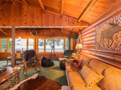 Photo for Waterfront Moose Cabin on Lake Colby, Saranac Lake, ideal setting year-round
