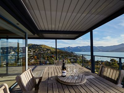 Photo for Akaroa. Spacious, sunny, harbour views and close to town.