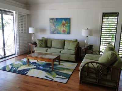 The living area with a queen size pull out couch and matching love seat.