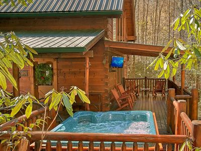 Photo for Cozy Log Cabin with Pool Table & Hot Tub!