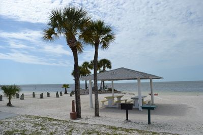 Private beach with barbecue shelter, restroom, parking on the beach. All free!