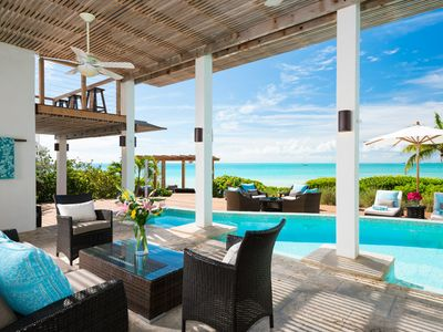 Photo for Sapodilla BEACHFRONT Luxury Villa!  Sunsets, views, private pool, kayaks & more!
