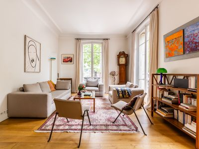 Photo for Perfect central location by the Eiffel Tower! Chic and colourful flat (Veeve)