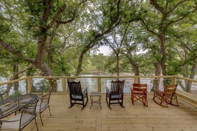 View of the River from the Sliding Glass Doors in the Back of the House