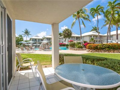 Enjoy your morning coffee or cocktail hour in the evening from the patio of this Sunset Cove condo!