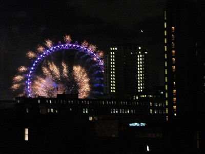 London Eye Fireworks on New Year's Eve.  Picture taken from West Balcony.