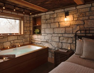 Cottonwood's en suite, two-person jacuzzi tub...
