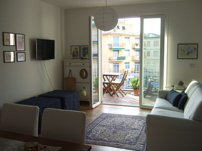 Photo for At 30 meters from the beach wonderful studio apartment with terrace and sea view