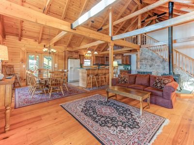 Photo for Dog-friendly, lake view cabin w/ furnished decks, Ping-Pong & darts!