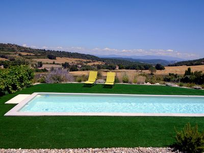 Pool, garden and Alps viewed from the terrace / bedroom