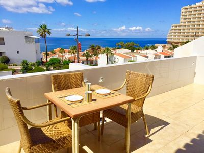 South-facing private double terrace with all-day sun and fantastic ocean views