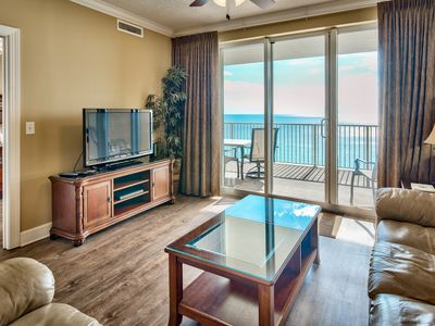 Photo for Designer Gulf front End Unit. Huge balcony/Free beach service! Book now for fall