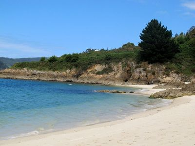 sandy cove in the village; 8 mins. walk from the aptartment