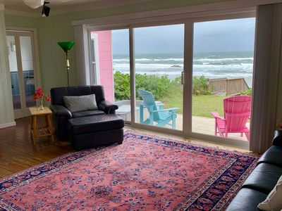 Panoramic ocean views from the living room upon entering.