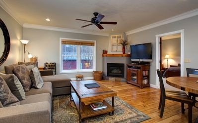 The living room has a large and very comfortable couch with a lounge seat that looks out over Park City mountain.  The view of the mountain from the living room is awesome.  There is a fireplace, a big screen TV, Blue Ray, cable TV and about 150 DVD's.