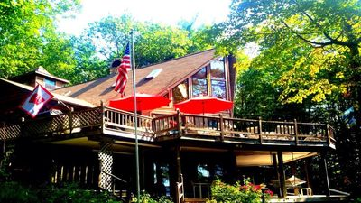 Photo for Private Waterfront Chalet on Wilson Pond 3.5 Mile long BASKETBALL COURT&TENNI