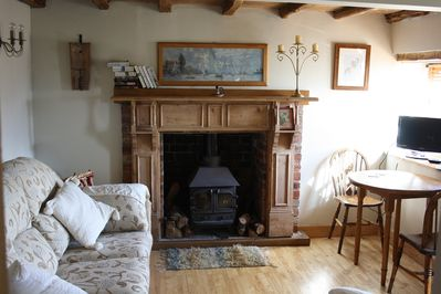 The lounge. Complete with real woodburner and logs