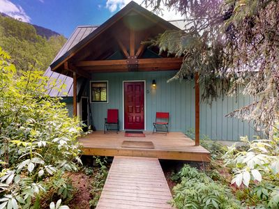 Photo for Cozy chalet w/private hot tub & views-walk to slopes, dogs welcome