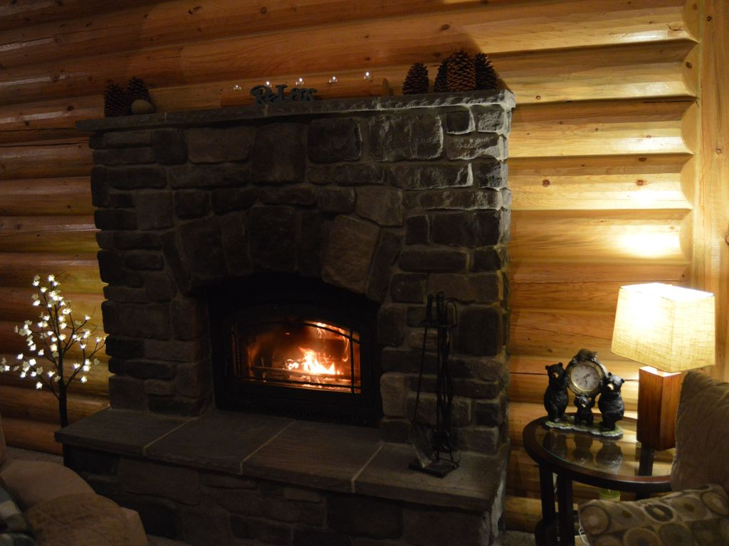 cabin with fireplace. Property Image 9 Gorgeous Modern Log Cabin With Fireplace Near Lake  Heavenly And Casinos